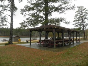 John Tanner State Park covered picnic area and lake