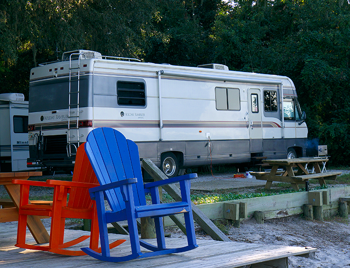 The Barge is snugged into campsite 11, one of two waterfront campsites.